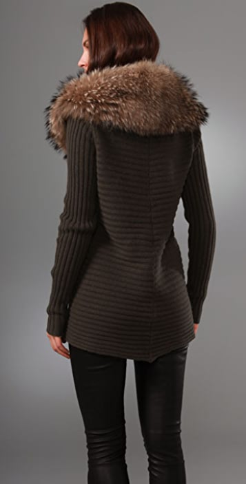 alice + olivia Lauriston Ribbed Cardigan with Fur Collar