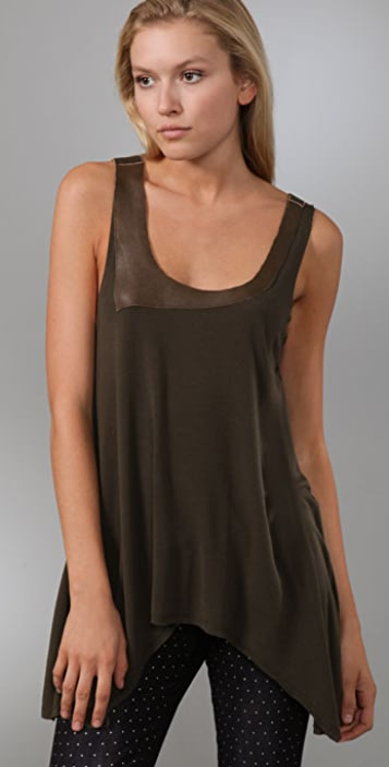 alice + olivia Curved Hem Tank with Leather