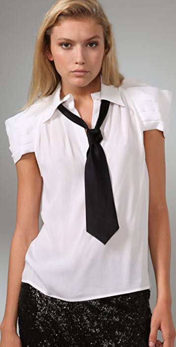 alice + olivia Jabot Cap Sleeve Blouse with Tie