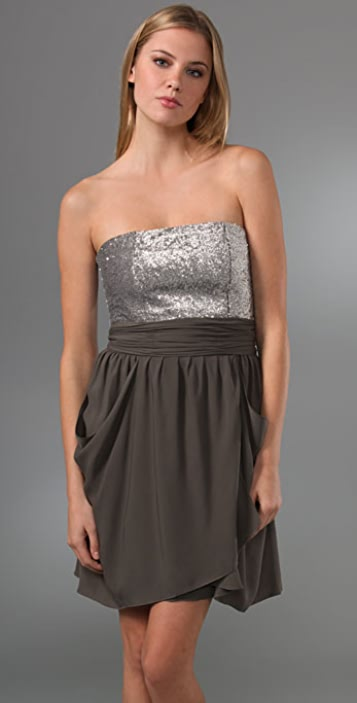 alice + olivia Maggie Strapless Sequin Dress