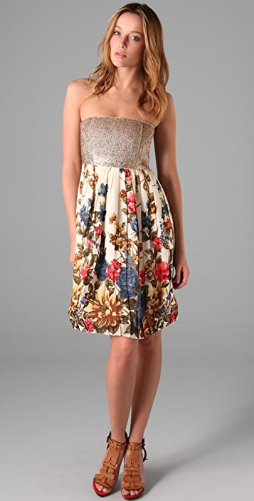 alice + olivia Kaitlyn Floral Dress with Sequined Bodice