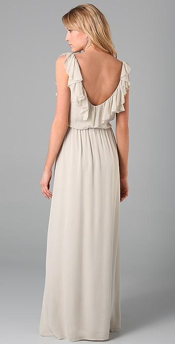 alice + olivia Lison Long Flounce Dress