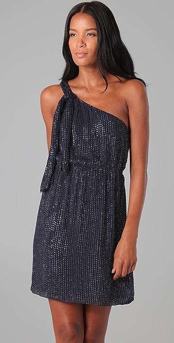 alice + olivia Sadie Beaded One Shoulder Dress
