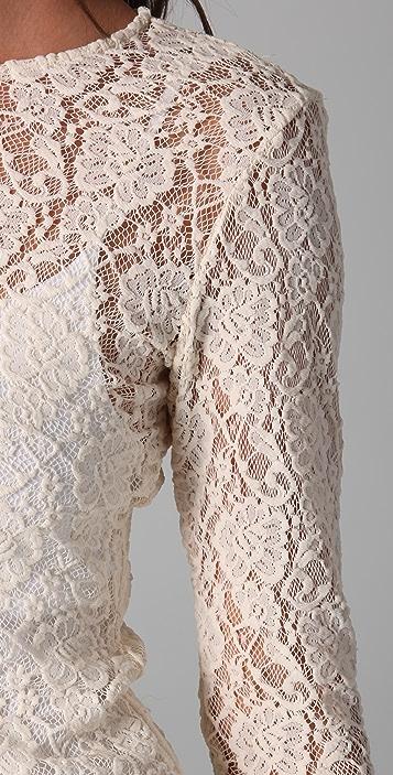 alice + olivia Baylor Long Sleeve Lace Tee