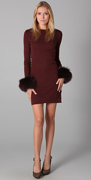 alice + olivia Sutton Fur Cuff Dress