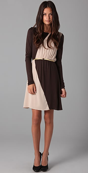 alice + olivia Short Chloe Colorblock Dress