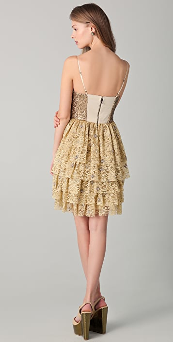 alice + olivia Lucille Beaded Bustier Dress
