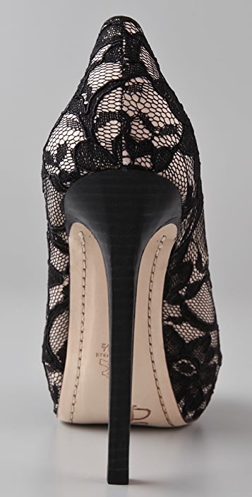 alice + olivia Nora Lace Open Toe Platform Pumps