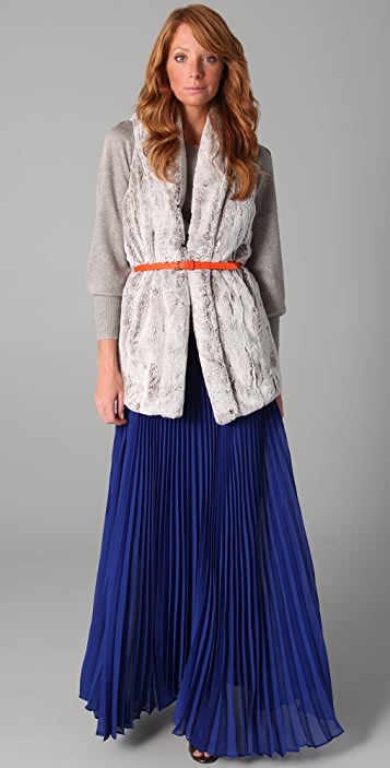 alice + olivia Shannon Pleated Long Skirt