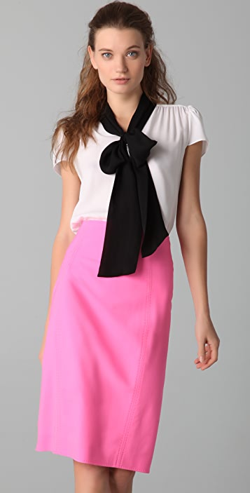 alice + olivia Gia Cap Sleeve Bow Blouse