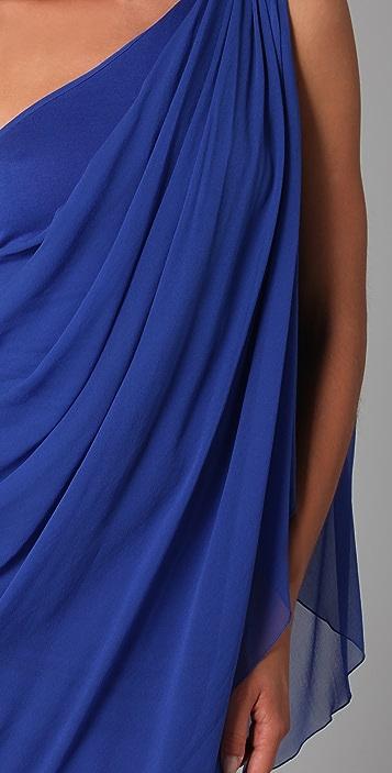 alice + olivia Draped One Shoulder Dress