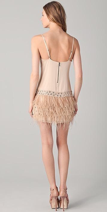 alice + olivia Lydia Feather Tank Dress