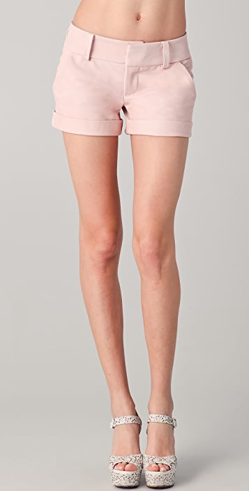 alice + olivia Leather Cady Cuff Shorts