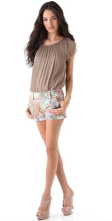 alice + olivia Floral Cady Cuff Shorts