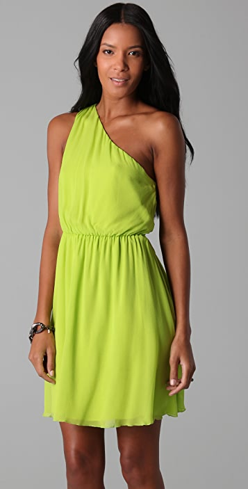 alice + olivia Mila Pleated One Shoulder Dress