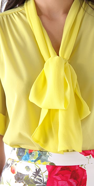 alice + olivia Arie Tie Collar Blouse