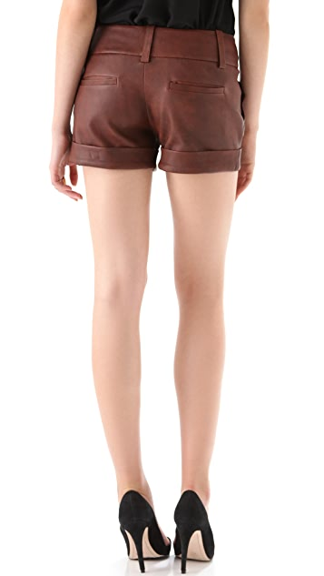 alice + olivia Cady Cuff Leather Shorts