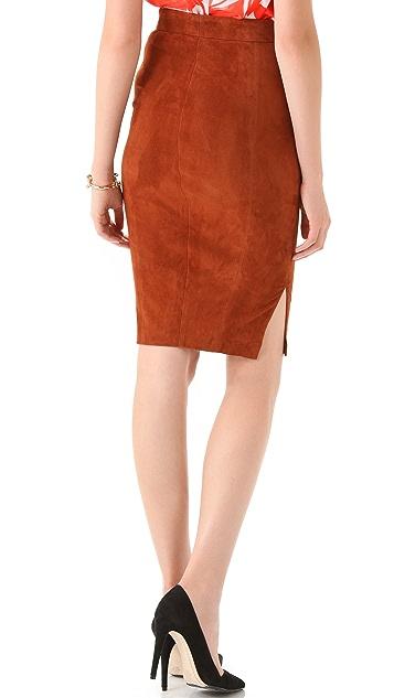 alice + olivia Sarah Suede Pencil Skirt