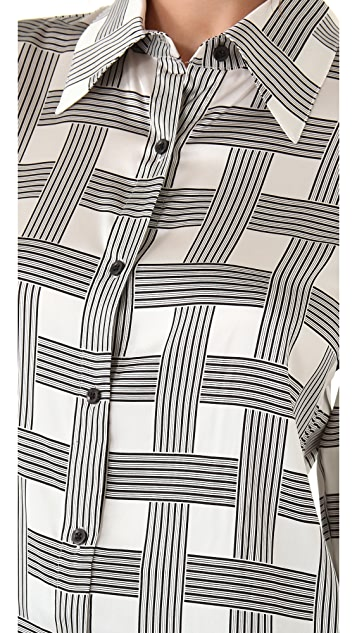 alice + olivia Brazil Button Down Blouse