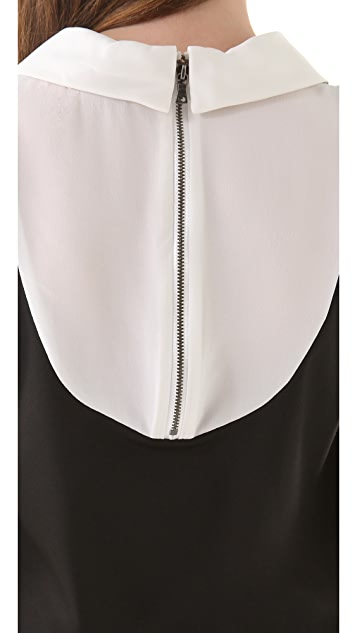 alice + olivia Collar Top with Cap Sleeves