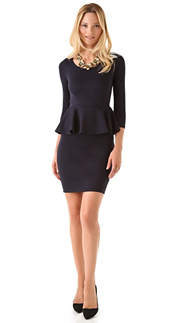 alice + olivia Amanda Long Sleeve Peplum Dress