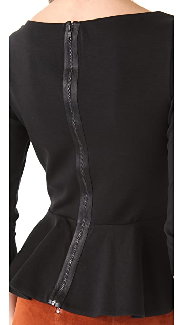 alice + olivia Regina Peplum Top with Long Sleeves