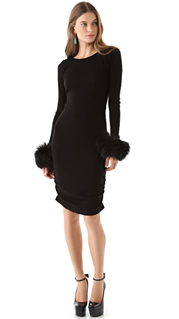 alice + olivia Alesia Fur Cuff Dress