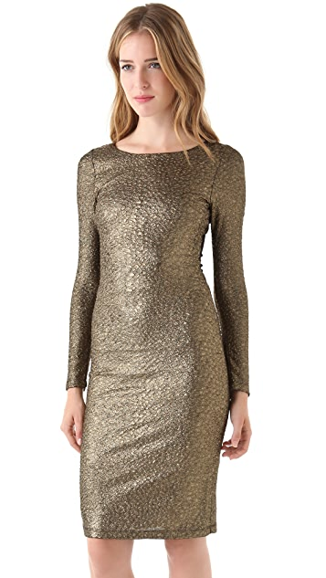 alice + olivia Selma Mesh Back Dress