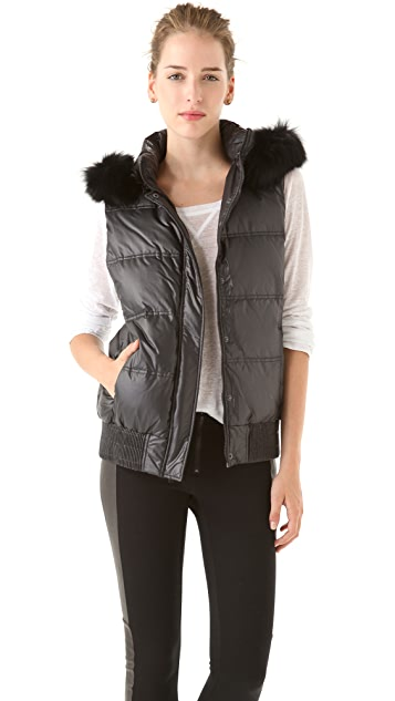 alice + olivia Jem Puff Vest with Fur Trim