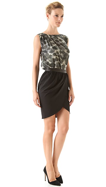 alice + olivia Tulip Draped Skirt with Leather Combo