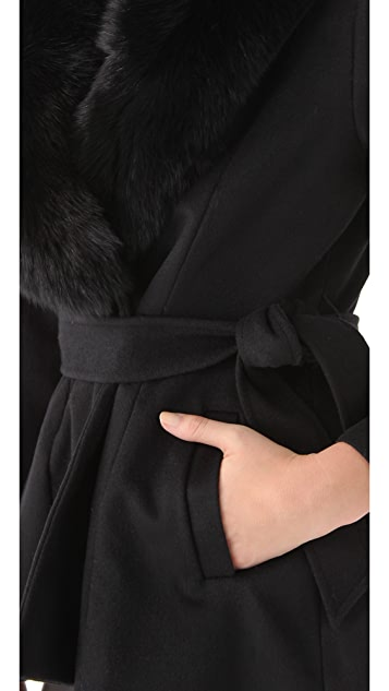 alice + olivia Kyah Fur Trim Coat
