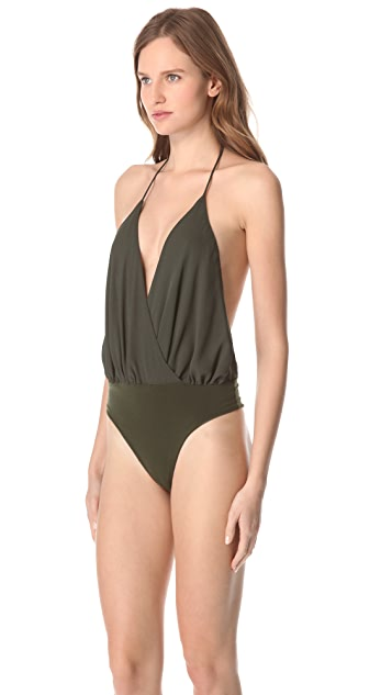 alice + olivia Draped Halter Bodysuit
