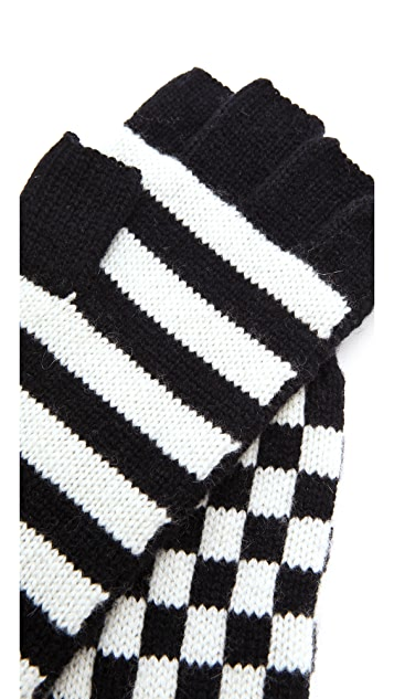 alice + olivia Check Stripe Gloves