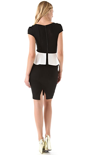 alice + olivia Harris Peplum Dress with Cap Sleeves