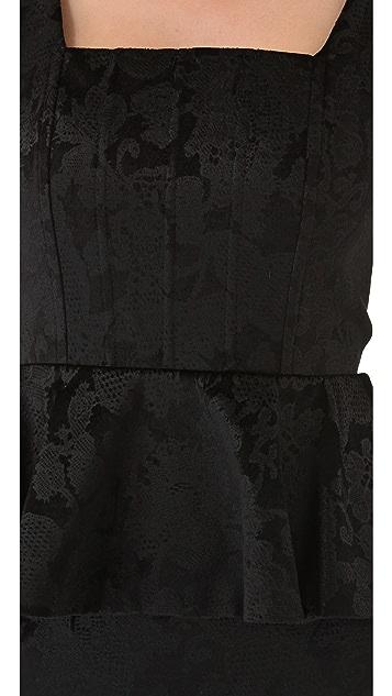 alice + olivia Yodi Square Neck Dress with Peplum