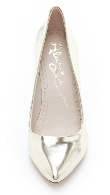 alice + olivia Odell Mirrored Wedge Pumps
