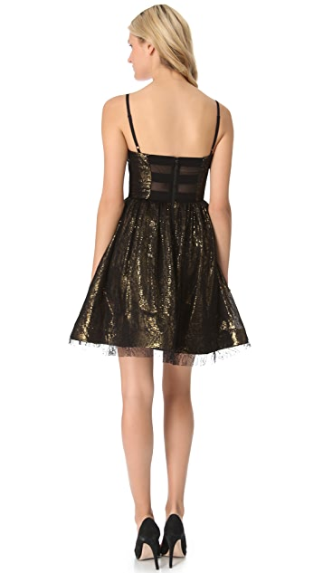 alice + olivia Yelle Bustier Flare Dress