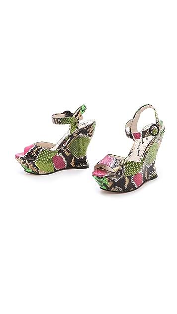 alice + olivia Jana Snake Print Wedge Sandals