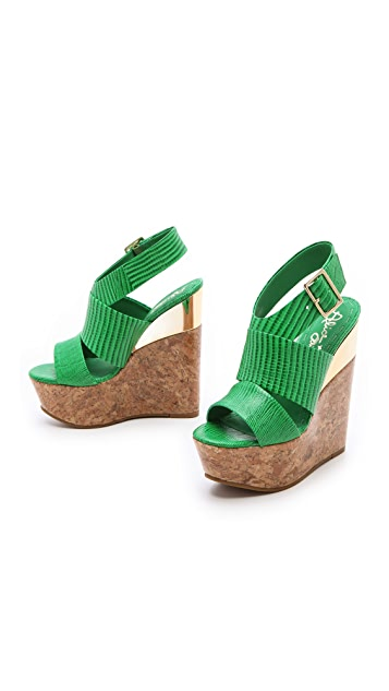 alice + olivia Steffie Embossed Wedge Sandals