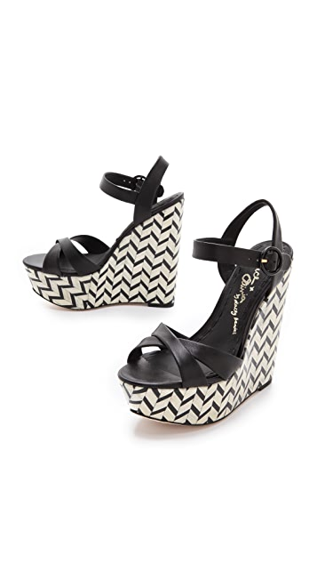 alice + olivia Patterned Platform Wedges