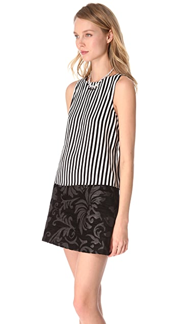 alice + olivia Arleigh Pleated Stripe Tank