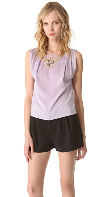 alice + olivia Gladys Pleated Shoulder Tee
