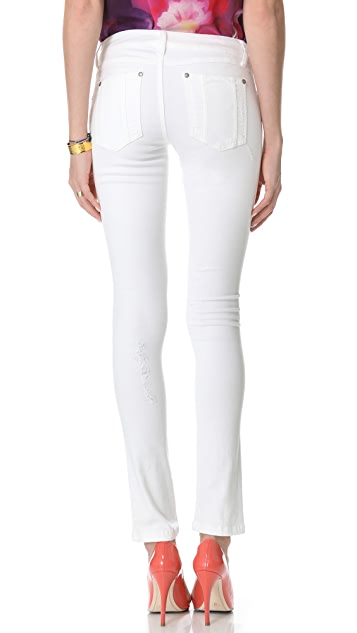 alice + olivia Distressed 5 Pocket Skinny Jeans