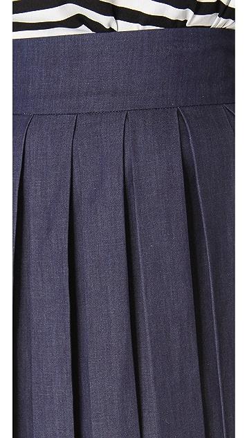 alice + olivia Chambray Box Pleat Skirt
