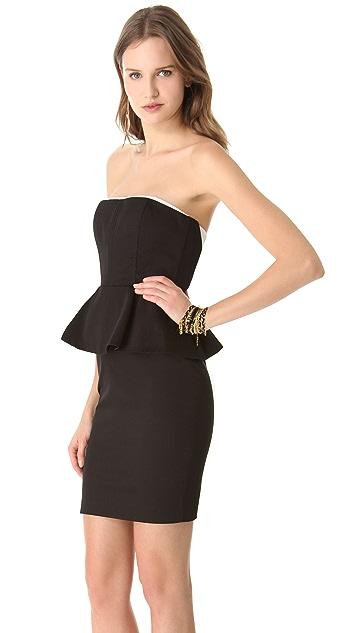 alice + olivia Lina Peplum Strapless Dress