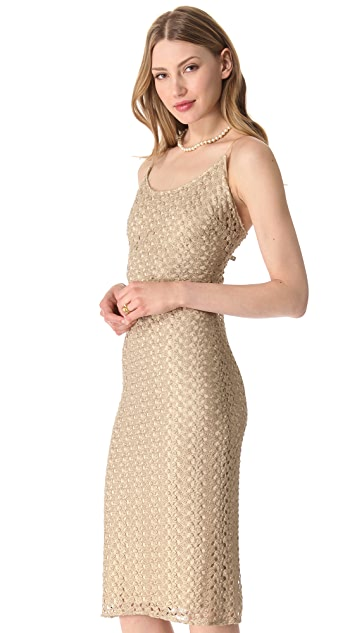 alice + olivia Blythe Metallic Midi Dress