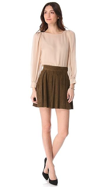 alice + olivia Milo Box Pleat Suede Skirt