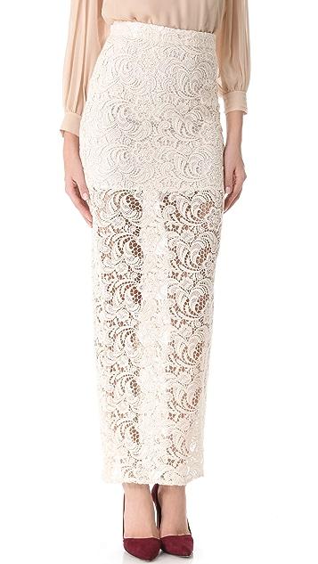 alice + olivia Ettley Crochet Maxi Skirt