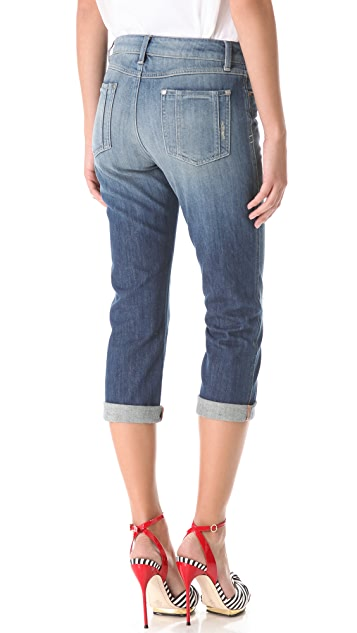 alice + olivia Distressed Rolled Jeans
