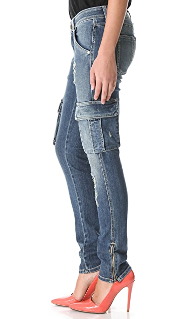 alice + olivia Distressed Cargo Jeans
